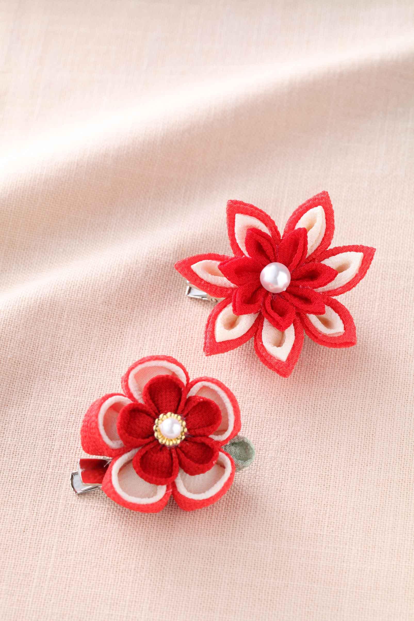 つまみ細工 お花のブローチ [LH,378 (赤)]